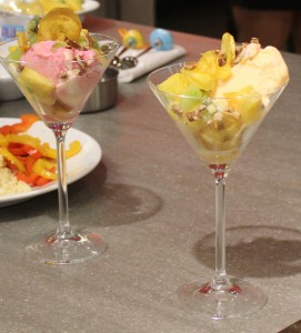 Sorbet, fruits and plantain chips